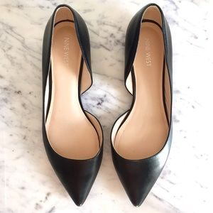 nine west black d'orsay pointy toe flats